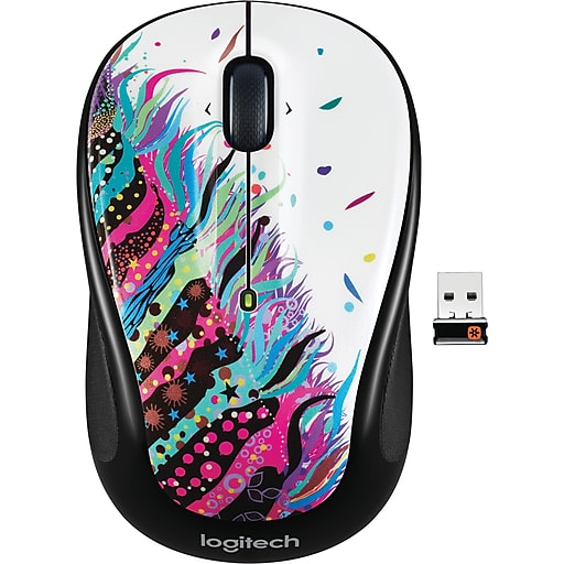 Logitech M325 Wireless Optical Mouse, Ambidextrous, Celebration Black